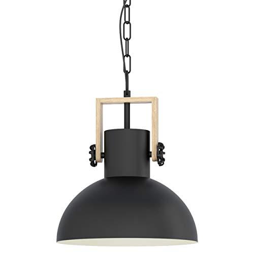 EGLO Pendellampe Lubenham, 1 flammige Vintage Pendelleuchte im Industrial Design, Retro Hängelampe aus Stahl und Holz, Fassung: E27, schwarz, braun