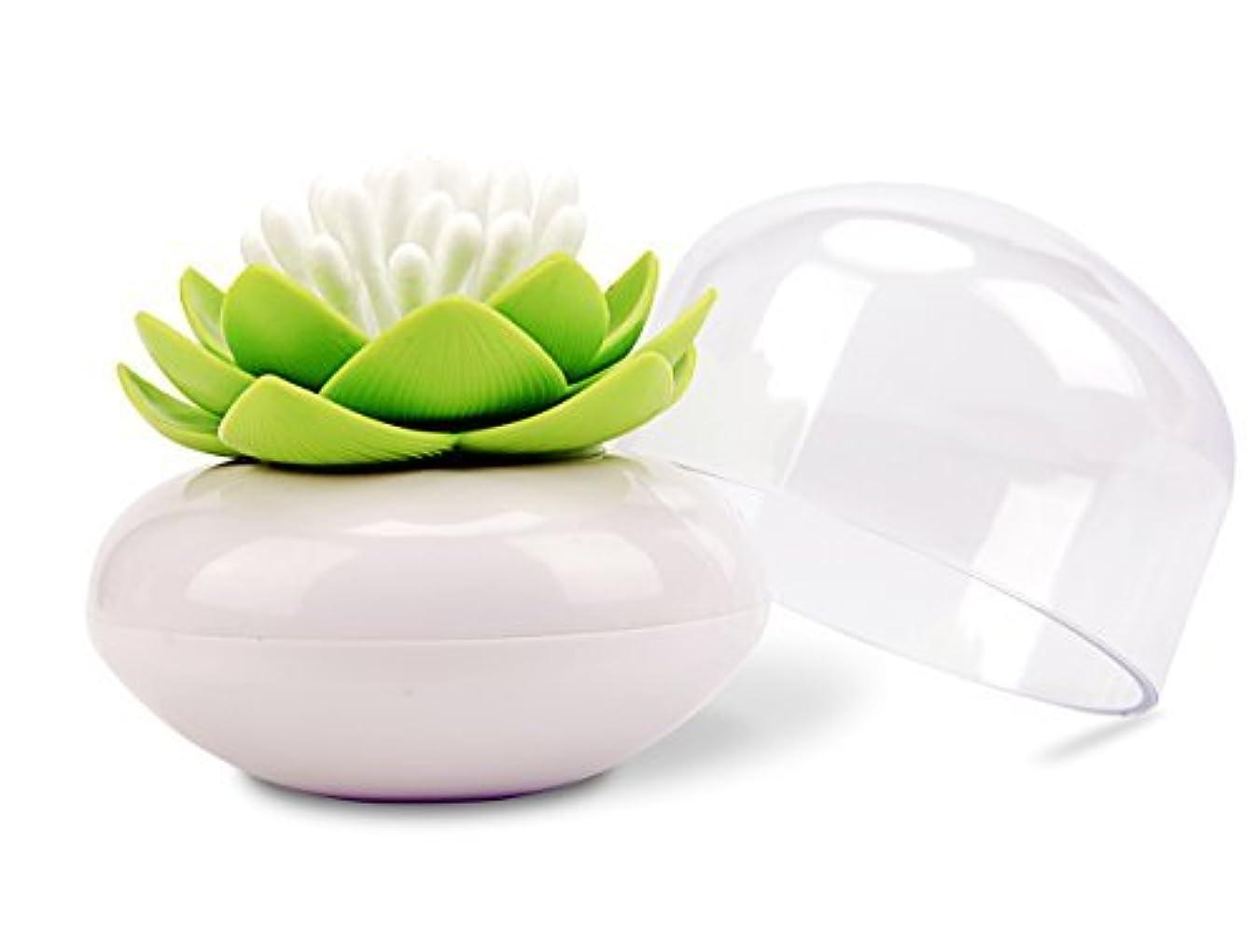 Bloss Q-Tips Holder Cotton Ball/Swab Organizer Lotus Shape Swab Cosmetic Storage&Toothpick Holder, Green