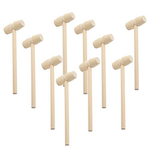 TOYMIS 10 Stück Mini Holz Hammer Krabben Hummer Schlägel Stampfen Meeresfrüchte Shell Crack Hammer Kunsthandwerk Zubehör