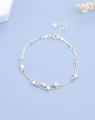 SHOUSHI Frauen Fußkettchen S925 Silber Multi-Layer-Fußkettchen Weibliche Mode Sterne Süße Doppelschicht Perlen Fußkette Einfach Frisch Wild, 925 Silber