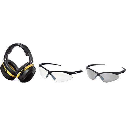 AmazonBasics Safety Ear Muffs Ear Protection, Black and Yellow, and Safety Glasses, Clear Lens and Smoke Lens