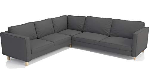 La funda de sofá de esquina Karlstad de algodón resistente (2+3/3+2) de reemplazo, es compatible a medida para la funda seccional IKEA Karlstad de repuesto (sección Karlstad de algodón gris oscuro)