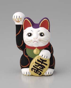 Handgefertigte japanische Vermögens-Katze Maneki neko Winkekatze Schwarz F251