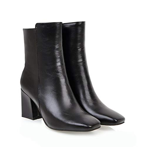 Botas de Tobillo con Punta Cuadrada para Mujer Botas Altas de Motocicleta Otoño Invierno Tacones Altos con Cremallera Zapatos de tacón de Bloque de Boda a la Moda