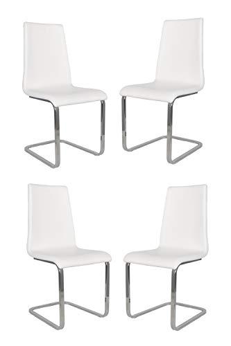 t m c s Tommychairs - Set 4 sillas Berlin Estilo Cantilever con Patas de Acero Cromado de Alta Resistencia y Asiento en Madera Multicapa, tapizado en Polipiel Color Blanco