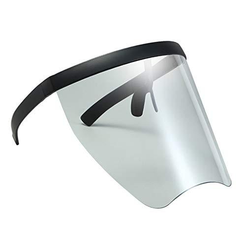 Baosity Gafas de Sol de Gran Tamaño Visera de Protección Grande Parte Plana Lente Transparente Unisex Resistente Al Viento - Marco Negro