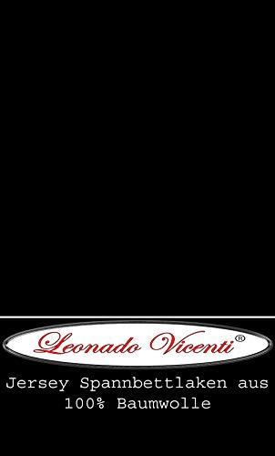 Leonado Vicent - Classic Spannbettlaken Bettlaken 100% Baumwolle Jersey Spannbetttuch in vielen Farben & Größen MARKENQUALITÄT ÖKO TEX Standard 100 (120 x 200 cm - 130 x 200 cm, Schwarz)