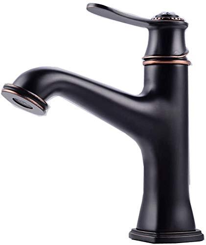 Europeo antiguo rústico frío y caliente mezclador grifo americano creativo personalidad sola manija solo agujero baño lavabo grifos vintage negro cepillado completo cobre agua grifo