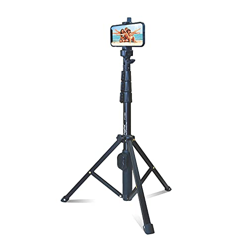 """Fugetek 51"""" Professional Selfie Stick & Tripod, Phone Holder, Extendable, Bluetooth Remote, Portable All in One, Heavy Duty Aluminum, Compatible with iPhone & Android Devices, Non Skid Feet, Black"""