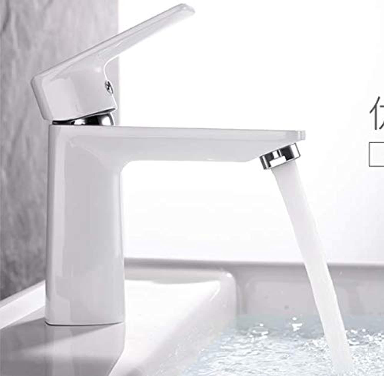 Black and White Copper hot and Cold Basin Faucet washbasin Bathroom wash Basin Faucet