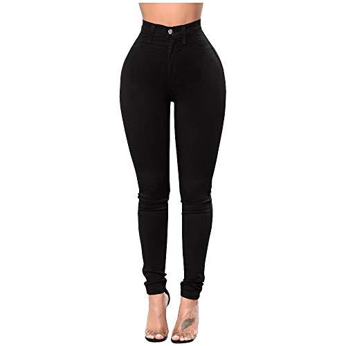 Mibuy Cintura Alta Pantalones Jeans Mujer Elástico Flacos Vaqueros Leggings Push Up Mezclilla Pantalones Mujer Pantalones con Cordones Vintage 2020 Jeans Vaqueros Mujer Slim Fit Negro,XL