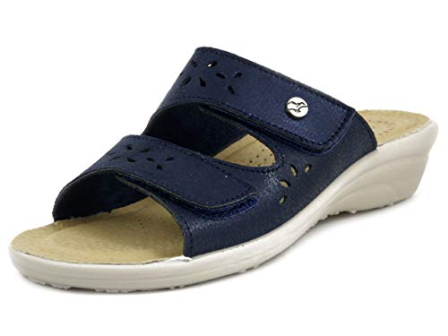 Fly Flot T4A56 63 Blu Ciabatte Donna Made in Italy Due Strappi Regolabili Sottopiede...