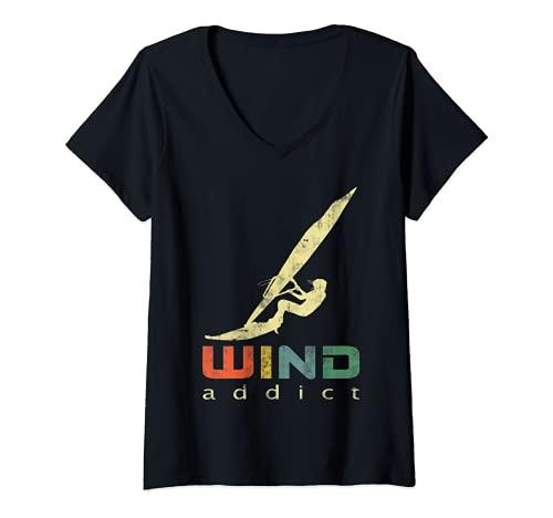 Mujer windsurf deportes acuáticos surfistas diseño vintage Camiseta Cuello V