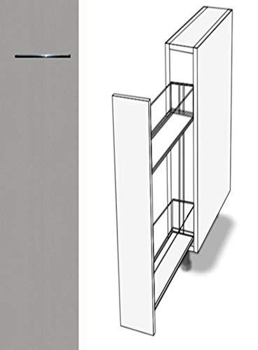 Premium-Ambiente ASE074 Unterschrank Apothekerschrank Vollauszug Softclosing FE (Breite 18cm, 05 Aluminium)