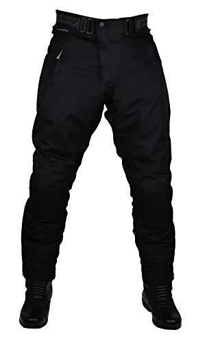 Schwarze Motorradhose in Kurzgröße XXXXL mit herausnehmbarem Thermofutter, Protektoren und Weitenverstellung, für Sommer und Winter
