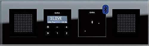 Gira Stereo Bluetooth RDS Unterputz Radio Esprit mit Lautsprechern und schwarzem Glasrahmen