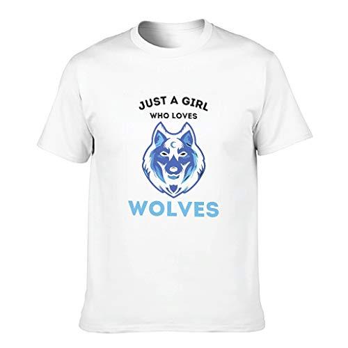 Camiseta de algodón para hombre, diseño con texto 'Just A Girl Loves Wolves' blanco XXXL