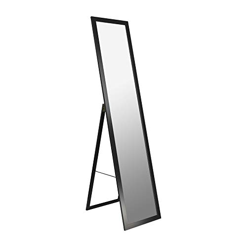 BD ART Stand-Ankleidespiegel schwarz 155,8 x 35,8 cm Standspiegel Garderobe Zeitloser eleganter MDF Rahmen