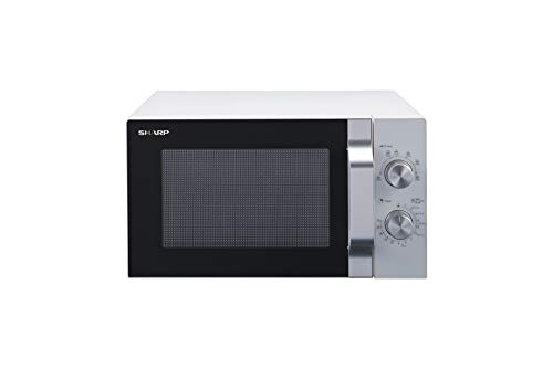 Sharp R204WA - Microondas solo, 20 L, 800 W, 6 niveles de potencia, temporizador de 30 minutos a 00 segundos, color blanco