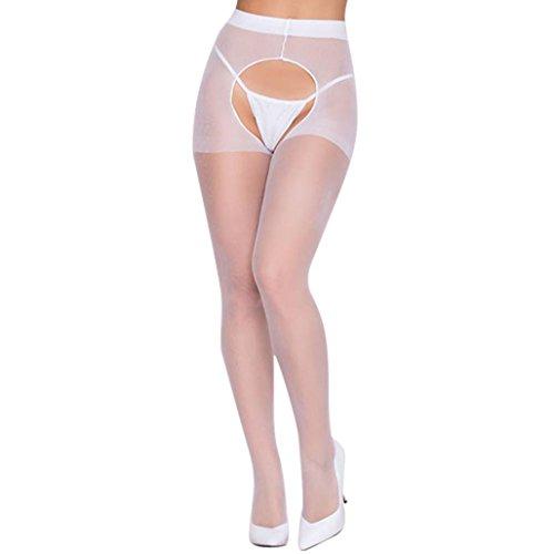 JYC Panties Sexy Lace Underwear,Dormir Vestido Interior Cordón Mujer,Sujetador Deportivo para Mujer, Mujer Sexy Conveniente Abierto Entrepierna Medias Picante Pantys (Blanco)
