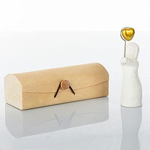 Ingrosso e Risparmio Cuorematto – Portamamanos con forma de niña de cerámica con imán corazón dorado, detalles originales de comunión con caja de regalo incluida (sin caja)
