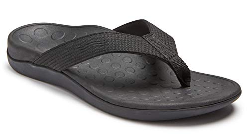 Vionic Unisex Wave Toe-Post Sandal - Flip-Flop with Concealed Orthotic Arch Support Black/Black Men's 10 M US/Women's 11 M US