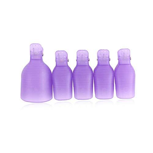 5pcs Del Clavo Empapa Del Clip Cap Ultravioleta Del Gel Removedor De Esmalte De Uñas De Arte Caps Removedor De Esmalte Wrap Pad (púrpura)
