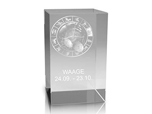 VIP-LASER 3D Glaskristall Quader XL Horoskop Sternzeichen Waage - für die Ewigkeit in Glas graviert!
