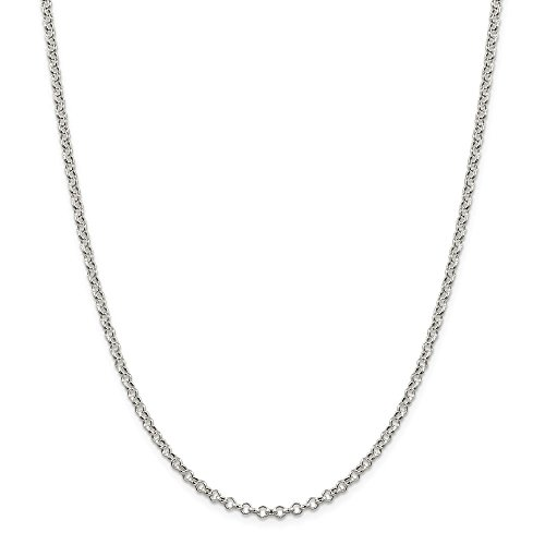 925 Sterling Silver 3mm Rolo Chain Necklace 18 Inch Pendant Charm Fine Jewelry For Women Gifts For Her