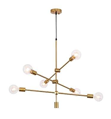 Sputnik Chandelier 6 Lights,Gold Pendant Light Fixture,Industrial Brass Ceiling Lighting for Dining Room Kitchen Island Bedroom Hallway
