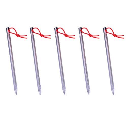 Sharplace 5 X Clavijas de Luz Clavijas de Tierra Anclajes de Tierra de Camping Anclajes de Fijación de Clavos de Tienda Clavijas de Tierra Clavijas de Arena - Plata