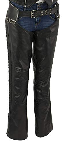 Xelement XS7591 Ladies 'Bling' Black Classic Leather Chaps - X-Large