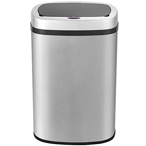GRANDMA SHARK 58 Litres Bathroom Bin, Sensor Bin, Rubbish Bin, Trash Can, Open-Cover by Infrared-Sensor, Anti-Fingerprint Stainless Steel Metal Bin