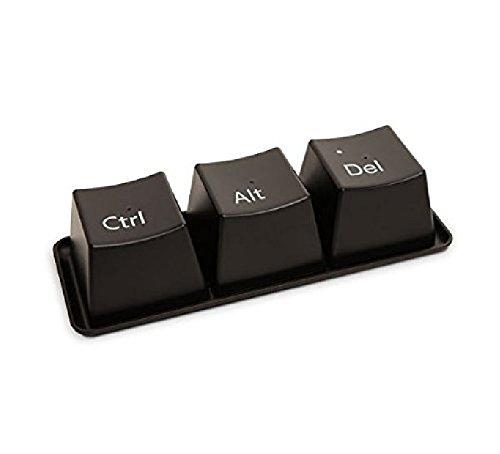 Kingwin Lot de 3 tasses créatives en forme de bouton de clavier avec plateau (noir)
