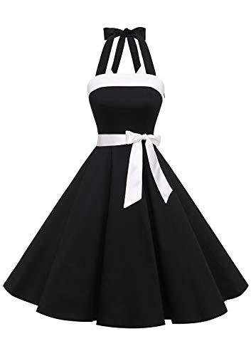 Timormode 10212 Vintage Kleid Knielang Retro Cocktailkleid Neckholder Swing Faltenrock Schwarz 2 S