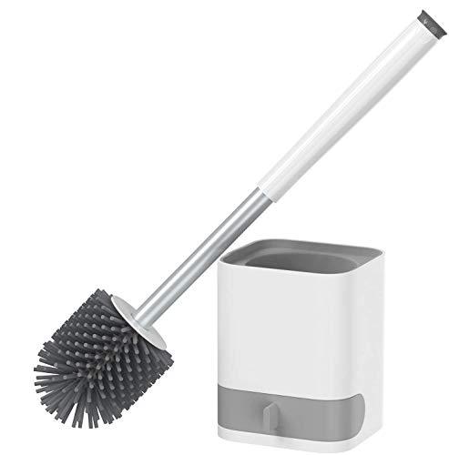 AMTOK WC Bürste Silikon Toilettenbürste mit Halter Set Langer Stiel klobürste und schnell trocknendem Haltersatz für Badezimmer oder Gäste-WC