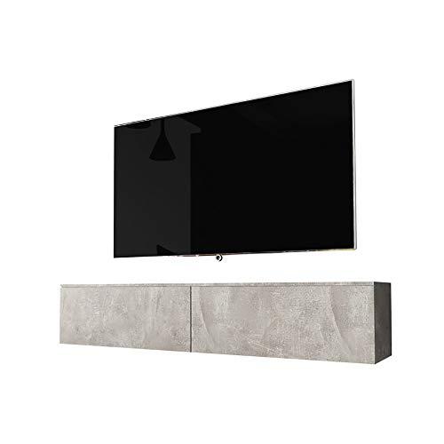 Selsey Kane - Mueble TV Flotante/Mesa TV/Mueble para Salón/Mueble TV Suspendido (140 cm, sin LED, Cemento Gris)