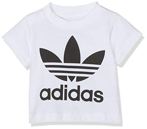adidas Kinder Trefoil Tee T-Shirt, White/Black, 0-3M