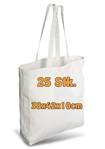 Cottonbagjoe Einkaufstasche | unbedruckt | Seiten-&Bodenfalte | Langen Henkeln | Jutebeutel (Weiß, 25 Stück)