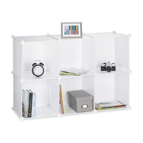 Relaxdays Regalsystem mit 6 Fächern, Standregal offen, Steckregal aus Kunststoff, HxBxT: ca. 65 x 96 x 32 cm, weiß