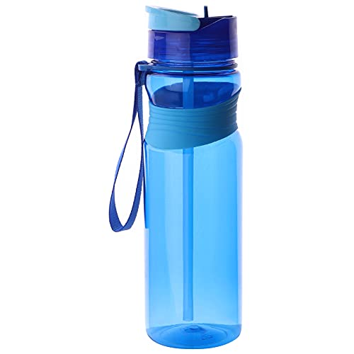 Motivacional Botella de agua de pajita de 750 ml con pajita Botella de agua a prueba de fugas Botellas deportivas sin Bpa con tapa a prueba de fugas Ideal para niños, niñas, regalo, escuela, v