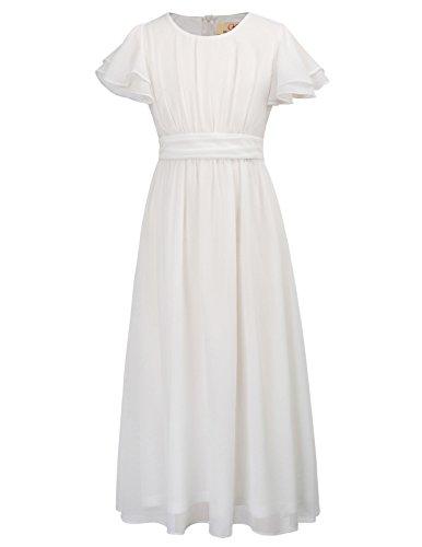 GRACE KARIN Short Sleeve Solid Chiffon Dresses for Girls 8yrs CL703-1 White