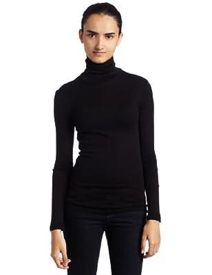 Splendid Women's 1X1 Long Sleeve Turtleneck Top,Black,Medium