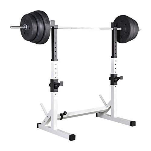HT&PJ Squat Rack Multifunktions Langhantel Rack Höhenverstellbarer Dip-Stand Home Gym Gewichtheben Bankdrücken Max. 200 Kg (Weiß)