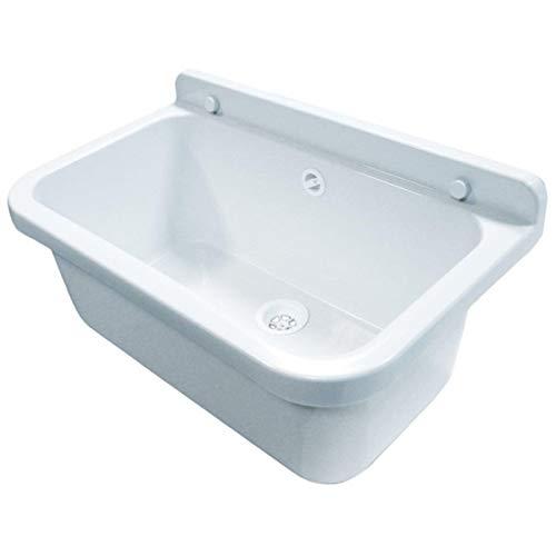 VBChome Ausgussbecken 55 x 34 x 21 cm Spülbecken Waschtrog mit Überlauf Waschbecken für Gewerbe Waschraum Garten inkl. Ablaufgranitur