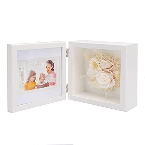ANLUNOB 15 x 15cm marcos de fotos para mesa de escritorio, regalo de cumpleaños, para siempre, rosas con marco de fotos blanco, regalos para mamá, niñas, mujeres