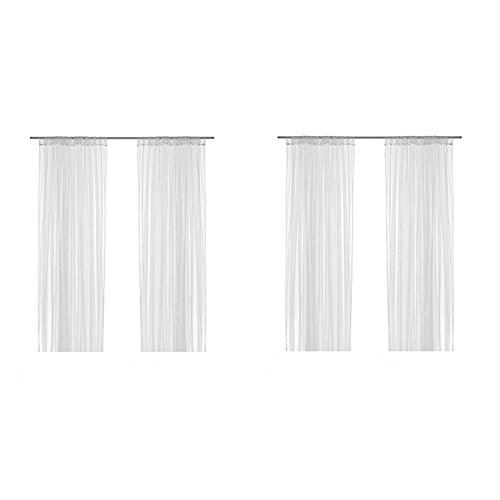 ikea home curtain panels Ikea Lill Sheer Curtains 4 Panels 98 X 110 (2 Curtain Pairs, White)