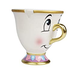 Sculptured mug with raised design elements Angled rim, indented ''chip'' on side Inspired by Beauty and the Beast Wash thoroughly before first use, not microwave or dishwasher safe Ceramic 4.75 Width x 4 Height x 3.75 Diameter, holds 8 oz.