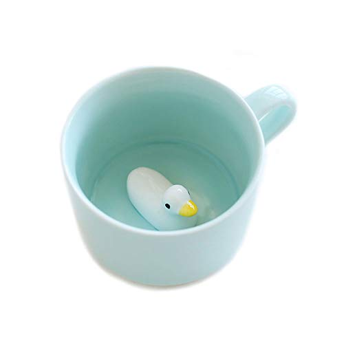 Tazas de cerámica para leche, café, té - Taza de desayuno con animal 3D ideal para beber por la mañana, para bodas, cumpleaños, cerámica, 8 oz (Pato)