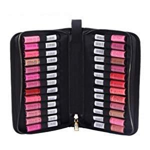 ROWNYEON Lipstick Organizer Bag Lipstick Holder Case 26 Slots Travel Lipstick Carrying Case Makeup Cosmetic Organizer Professional Makeup Artist Portable Storage Bag Case For Lip Gloss,Lipsticks-Black